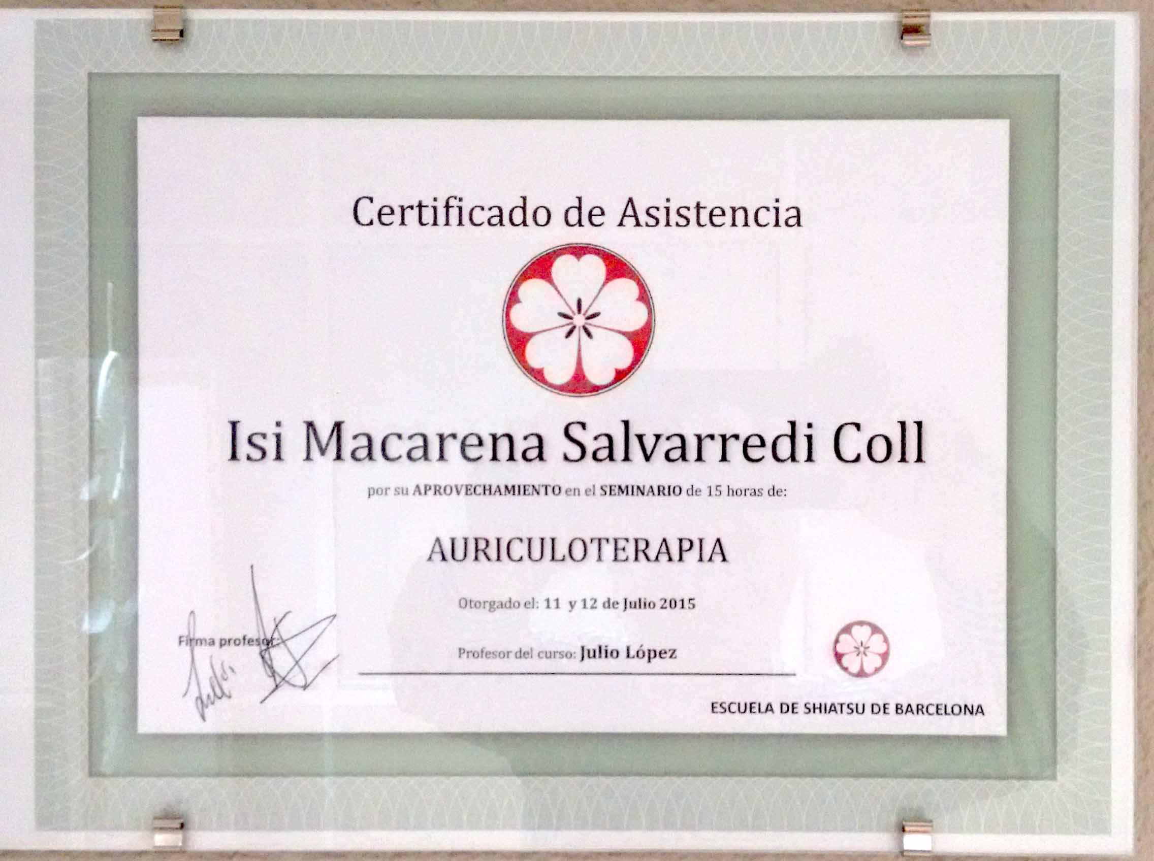 Certificado Auriculoterapia