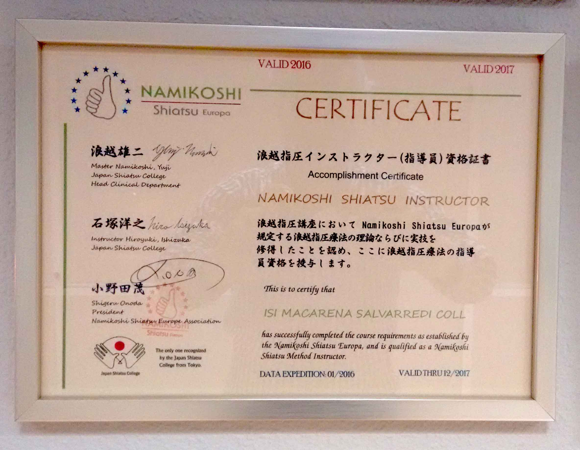 Instructor Namikoshi Shiatsu